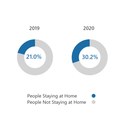 Donut chart showing that 30% of people stayed at home during this period